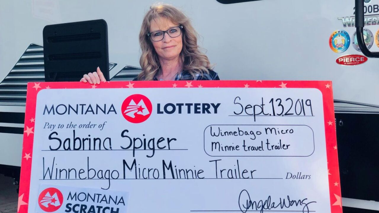 Sabrina Spiger of Libby took ownership of a new Winnebago Micro Minnie travel trailer in Great Falls