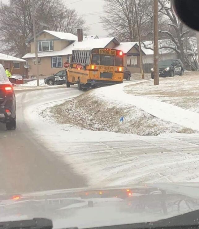 Belton bus slick roads Wednesday