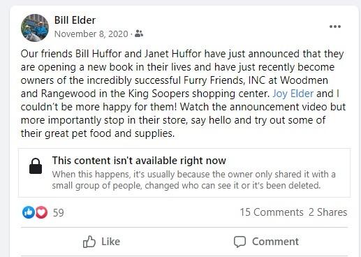 Bill Elder's Nov. 8, 2020 Facebook post