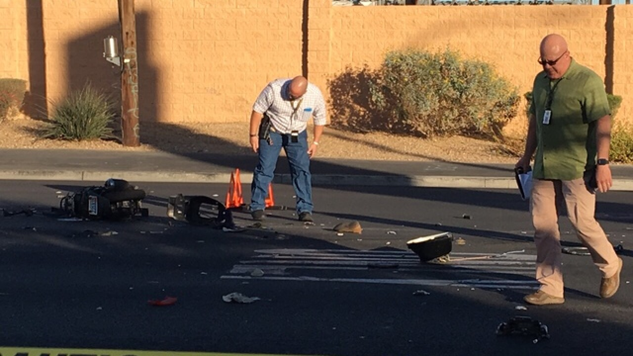 Truck, moped collide near Alta and Valley View