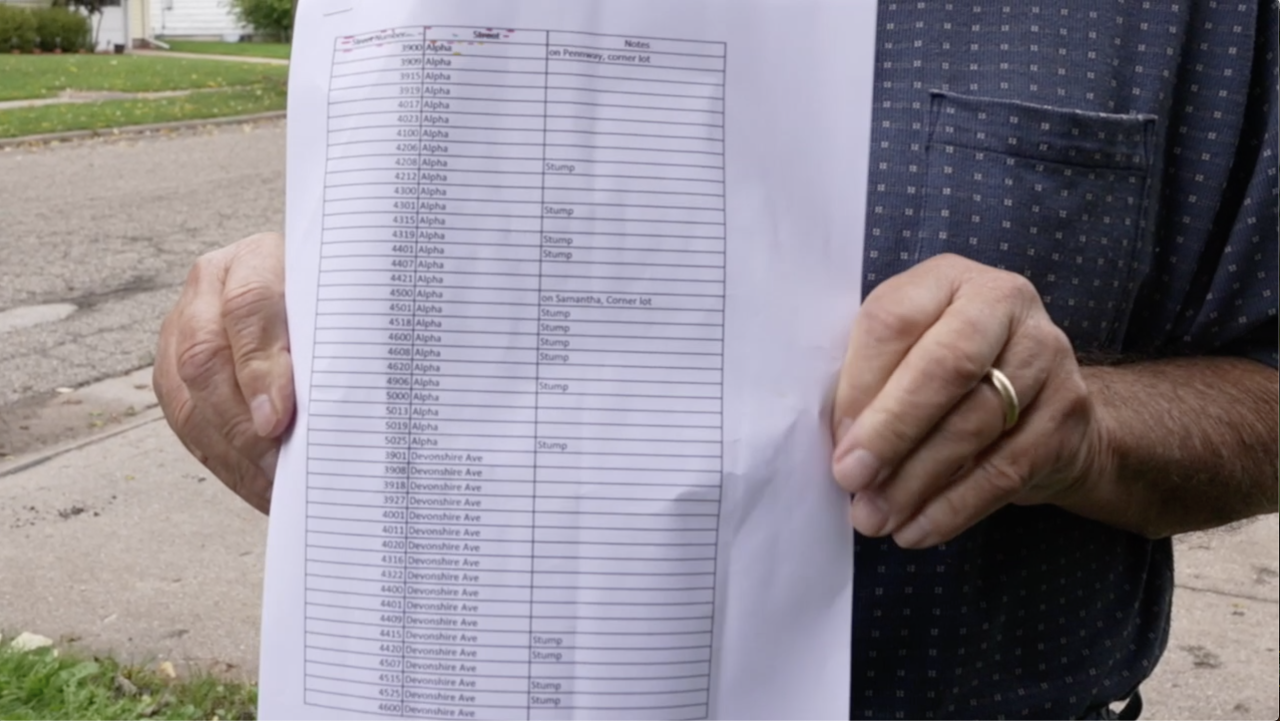 Thomas Hamlin drew up a list of 80 trees in his neighborhood that were removed and not replaced