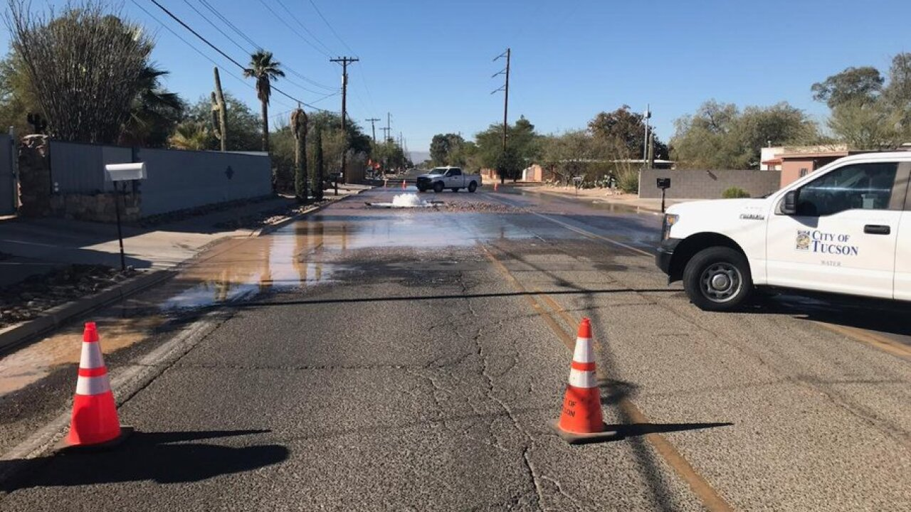 Tucson Water crews responded to a reclaimed water main break on Glenn Street Tuesday. Photo via Tucson Water.