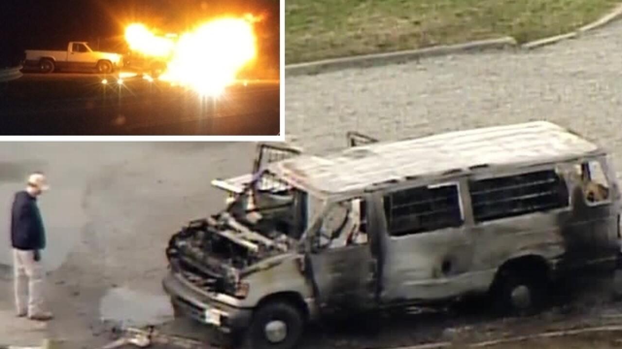 Bomb unit investigates Clinton Co. van fire