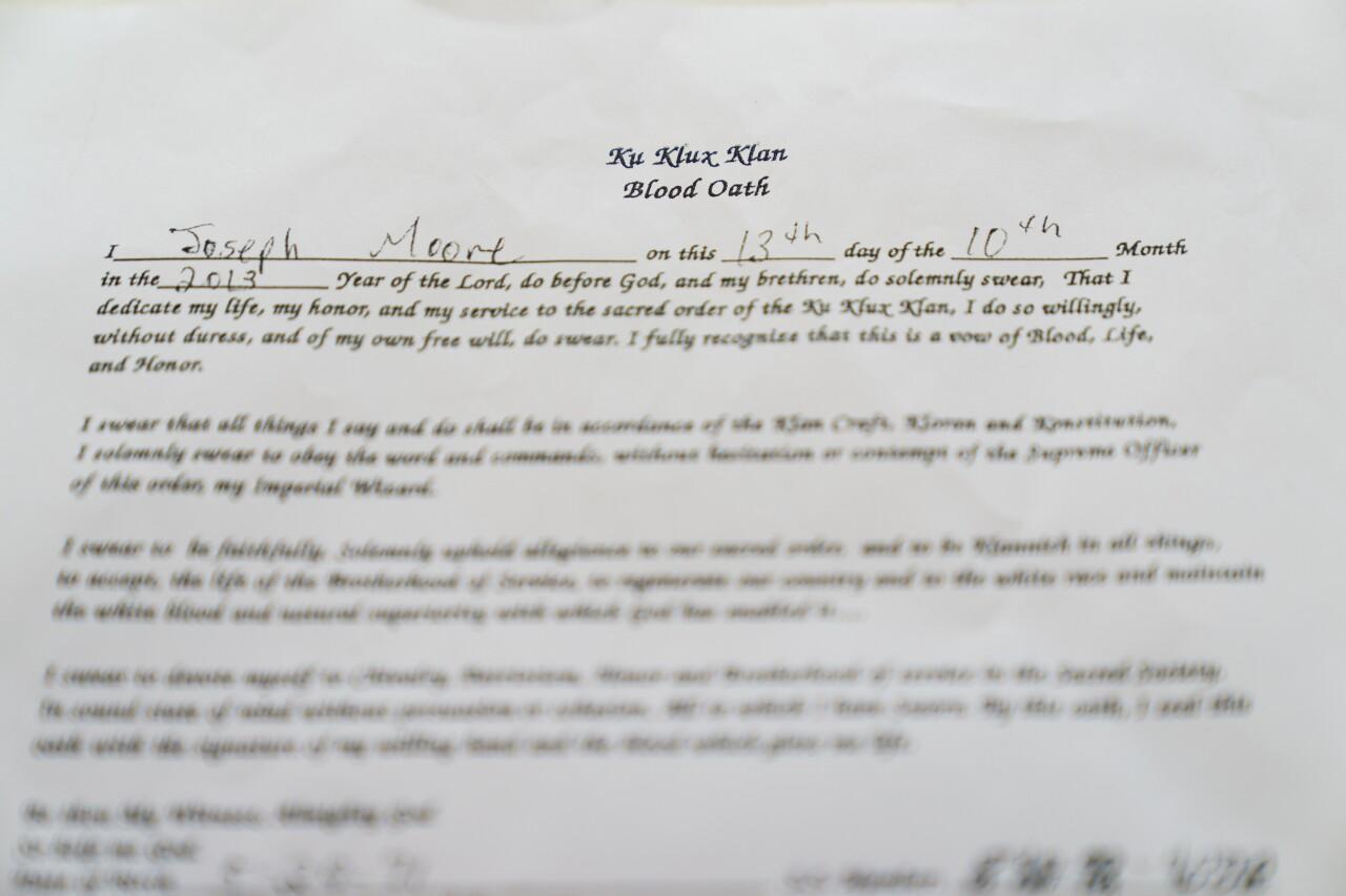 KKK 'blood oath' signed by Joseph Moore