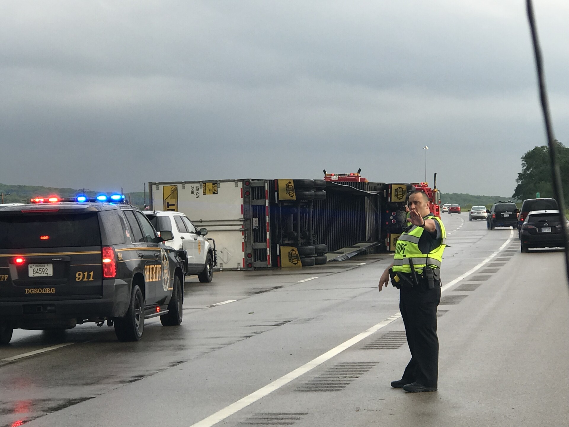 Hwy 59 closed Lawrence