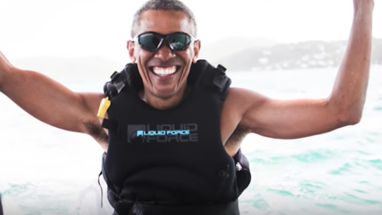 While the Trump White House churns, ex-President Barack Obama is kitesurfing with Richard Branson