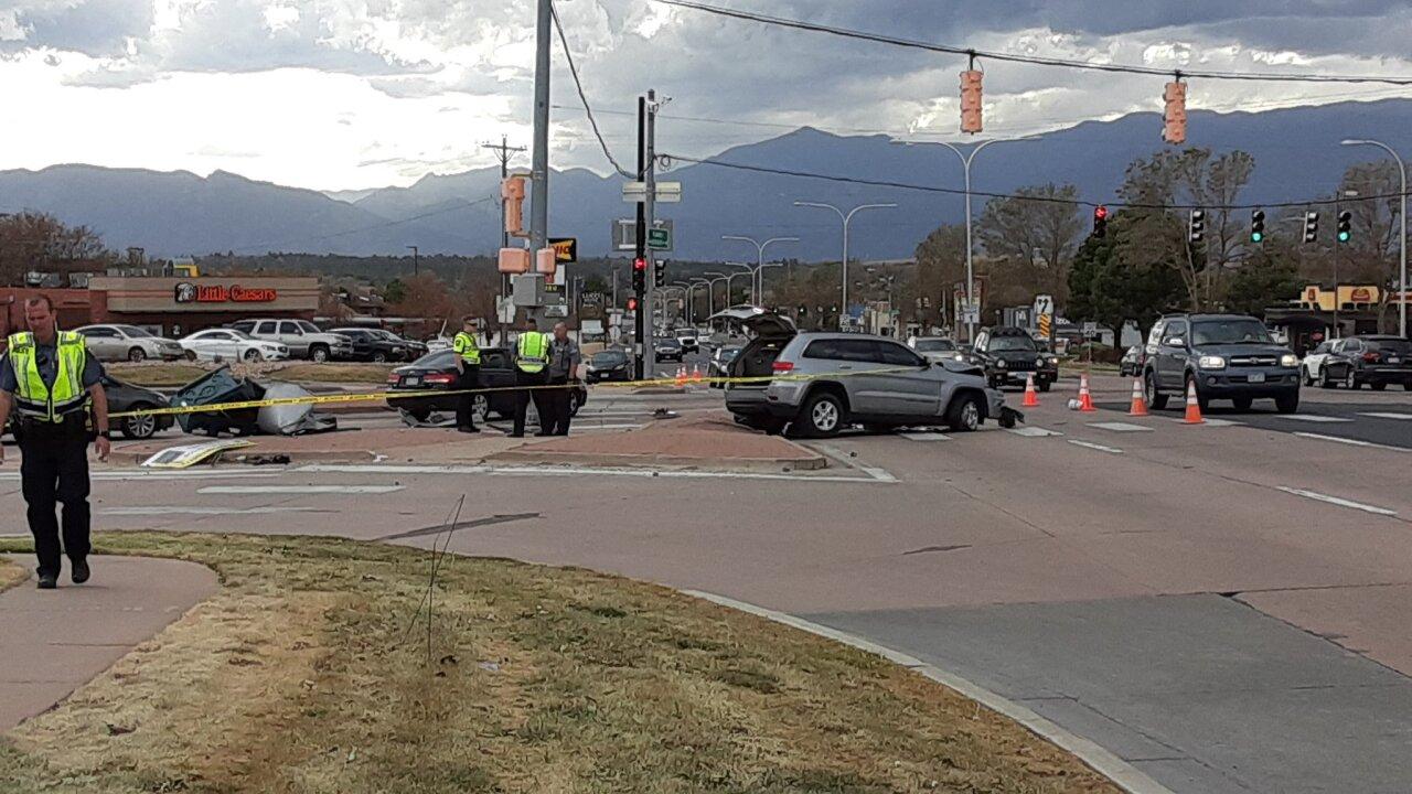 Crash debris blocks Barnes at Austin Bluffs