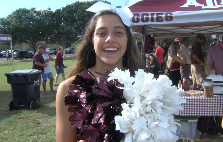 Local cheerleaders also joined in on the festitivies outside of Kyle Field.PNG