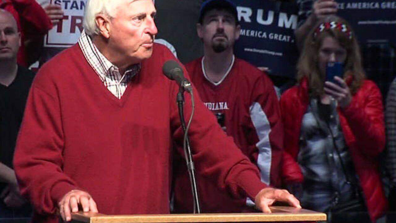YOU REACT: Bob Knight campaigns for Donald Trump