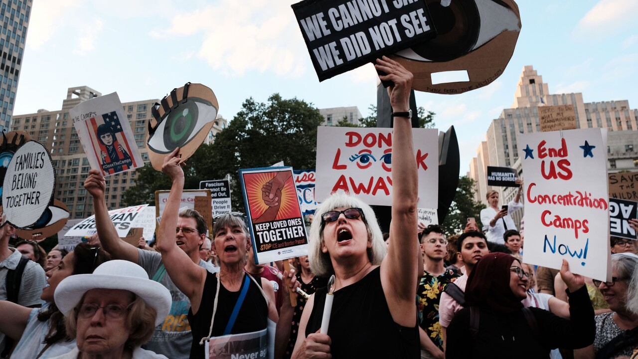 """""""Lights For Liberty"""" Gatherings Held Across The Country To Protest Migrant Detention Camps"""