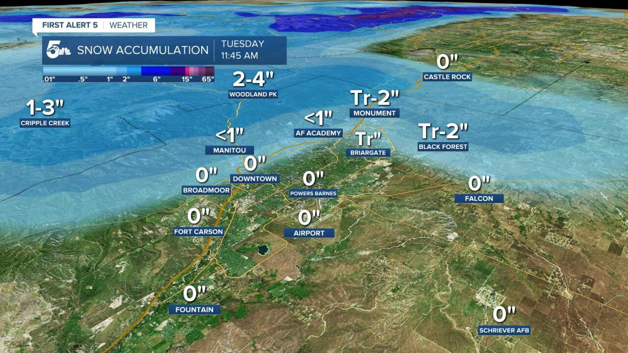 Pikes Peak Region Snowfall Forecast