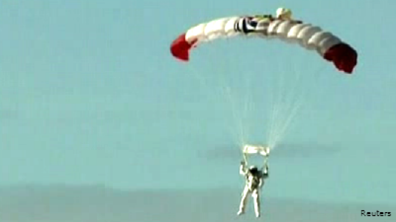 Skydiver lands safely after historic jump from edge of space