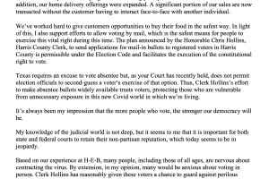 HEB letter to texas supreme court