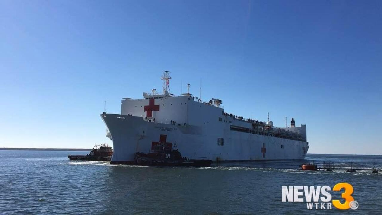 USNS Comfort returns to Norfolk after humanitarian mission in Puerto Rico