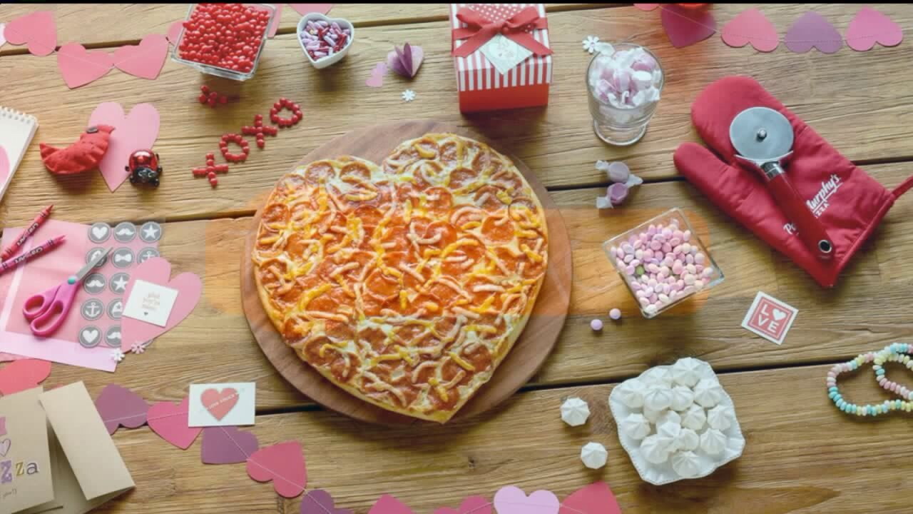 The perfect dinner for a Valentine's night in: Papa Murphy's Heart BakerPizza