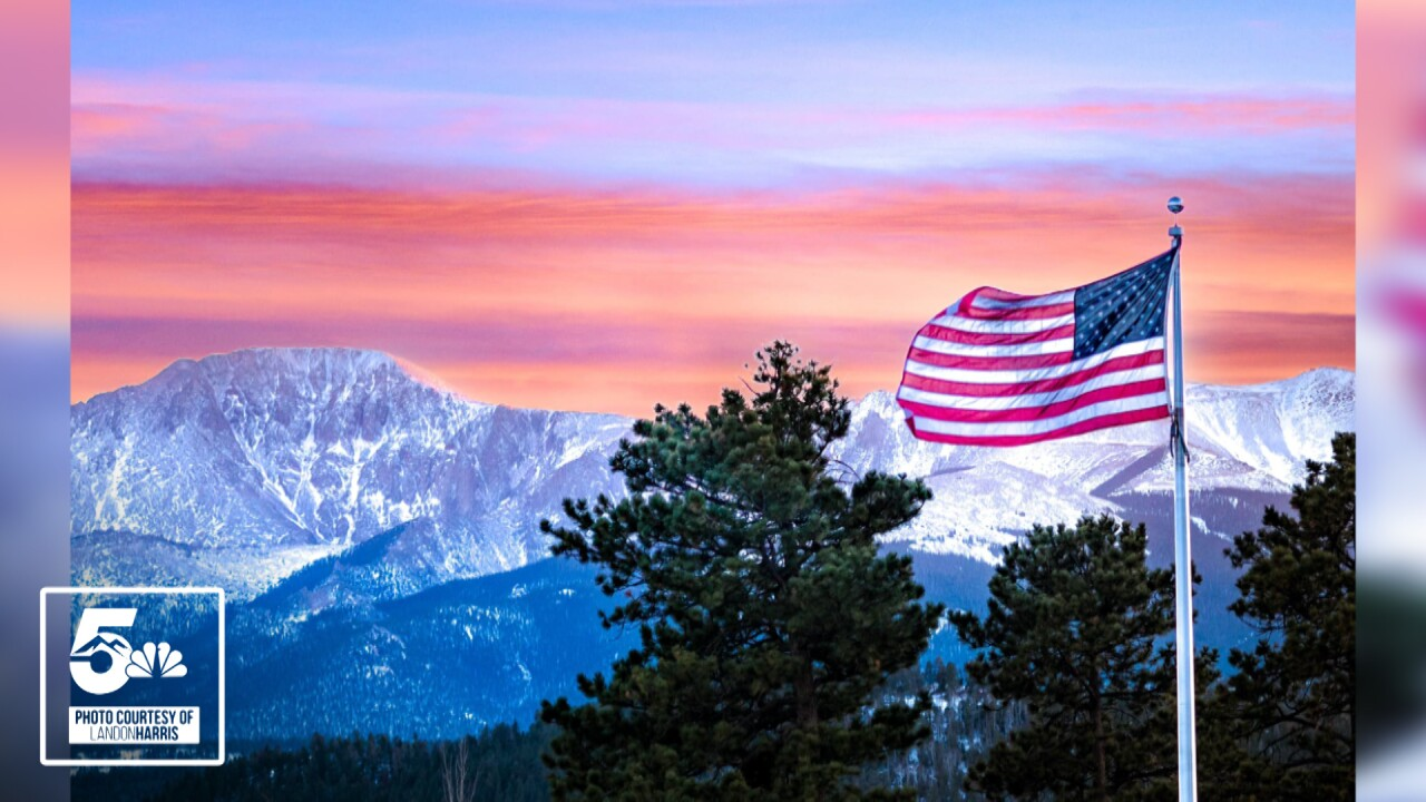 Mountain view with American flag