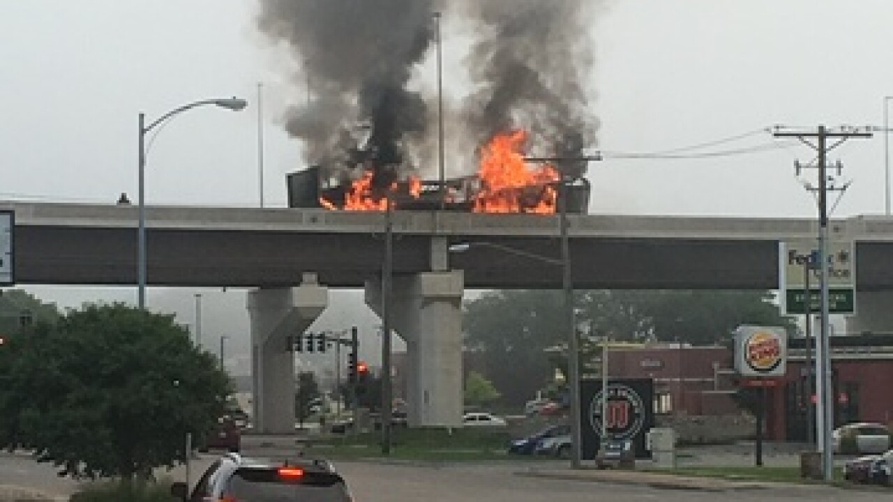 Semi-truck carrying hotdogs catches fire on Dodge Expressway