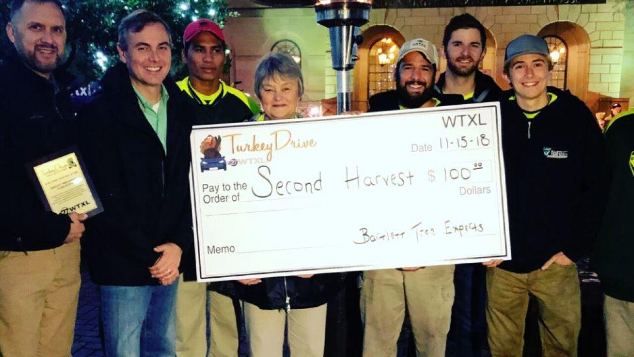 Bartlett Tree Experts donates $100 to WTXL's Turkey Drive.JPG