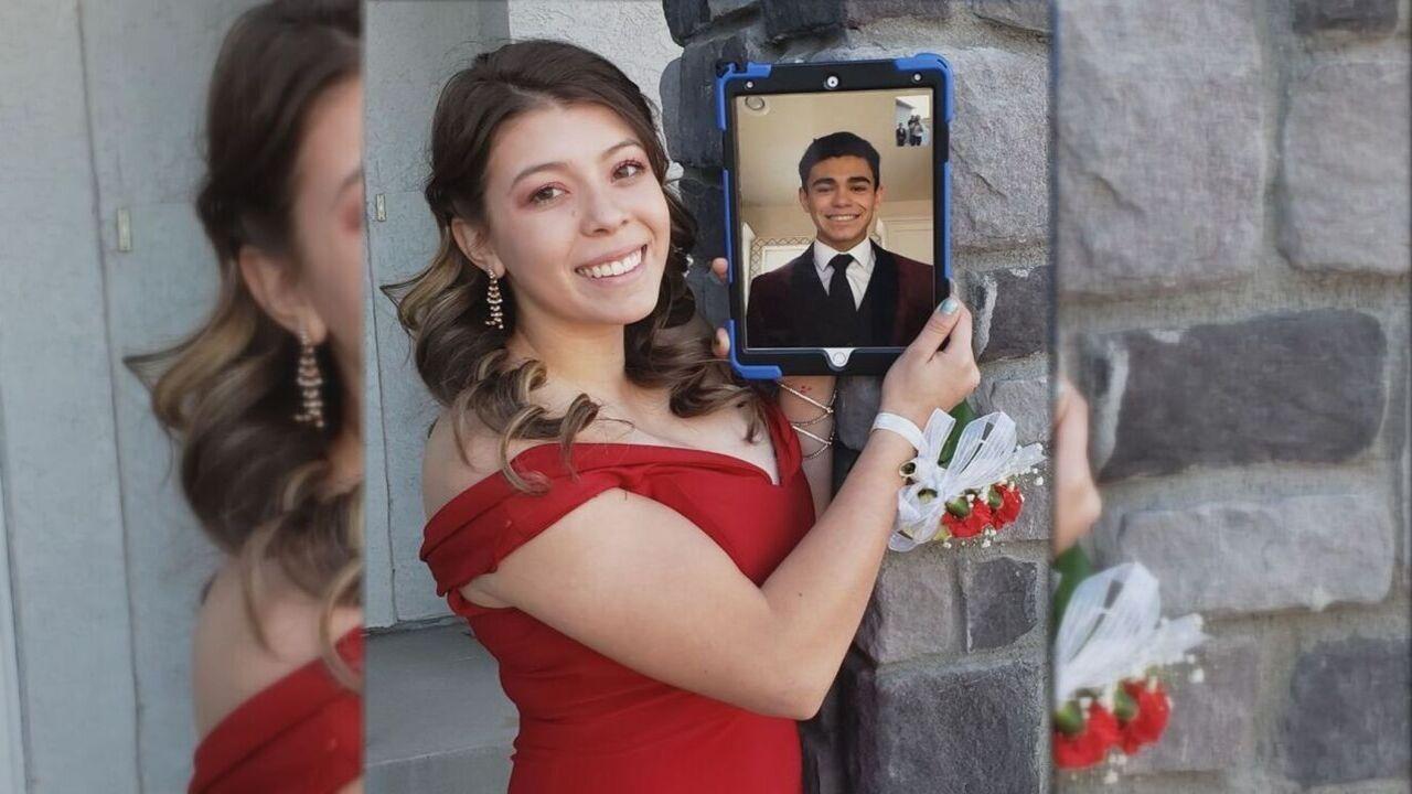 18-year-old Jacelynn Trujillo poses with her boyfriend, 17-year-old Zachery Ruiz