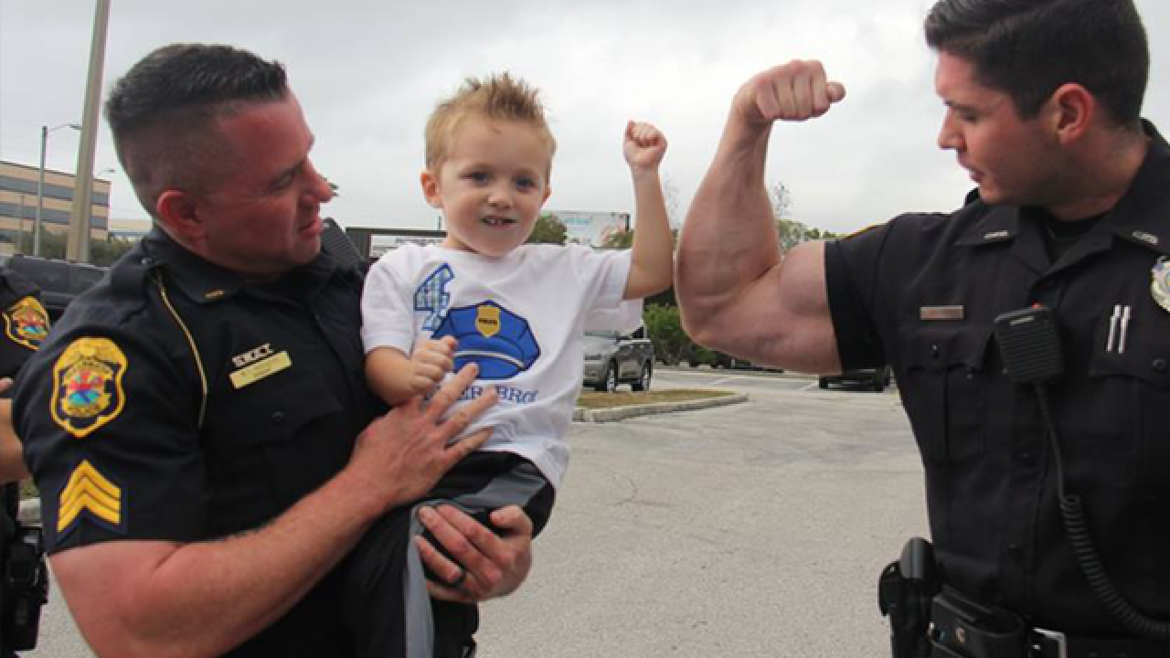 Clearwater police surprise 4-year-old boy at birthday party