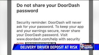 Food delivery driver warns of phishing scheme