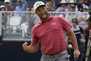Jon Rahm reacts to birdie on 18th hole of final round of 2021 US Open
