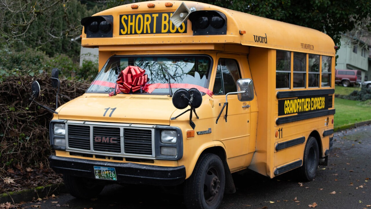 A grandfather in Oregon just bought a small school bus so he can take his 10 grandchildren to school.