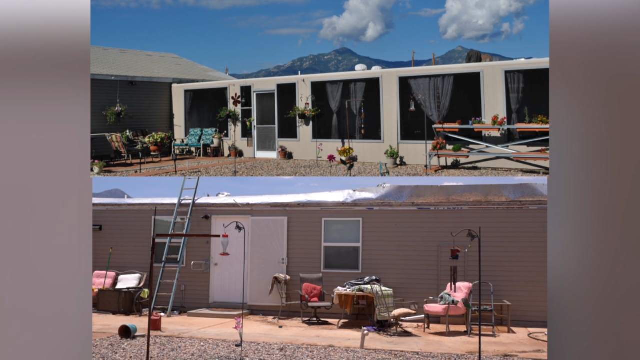 Before and After of the Cupps' back patio