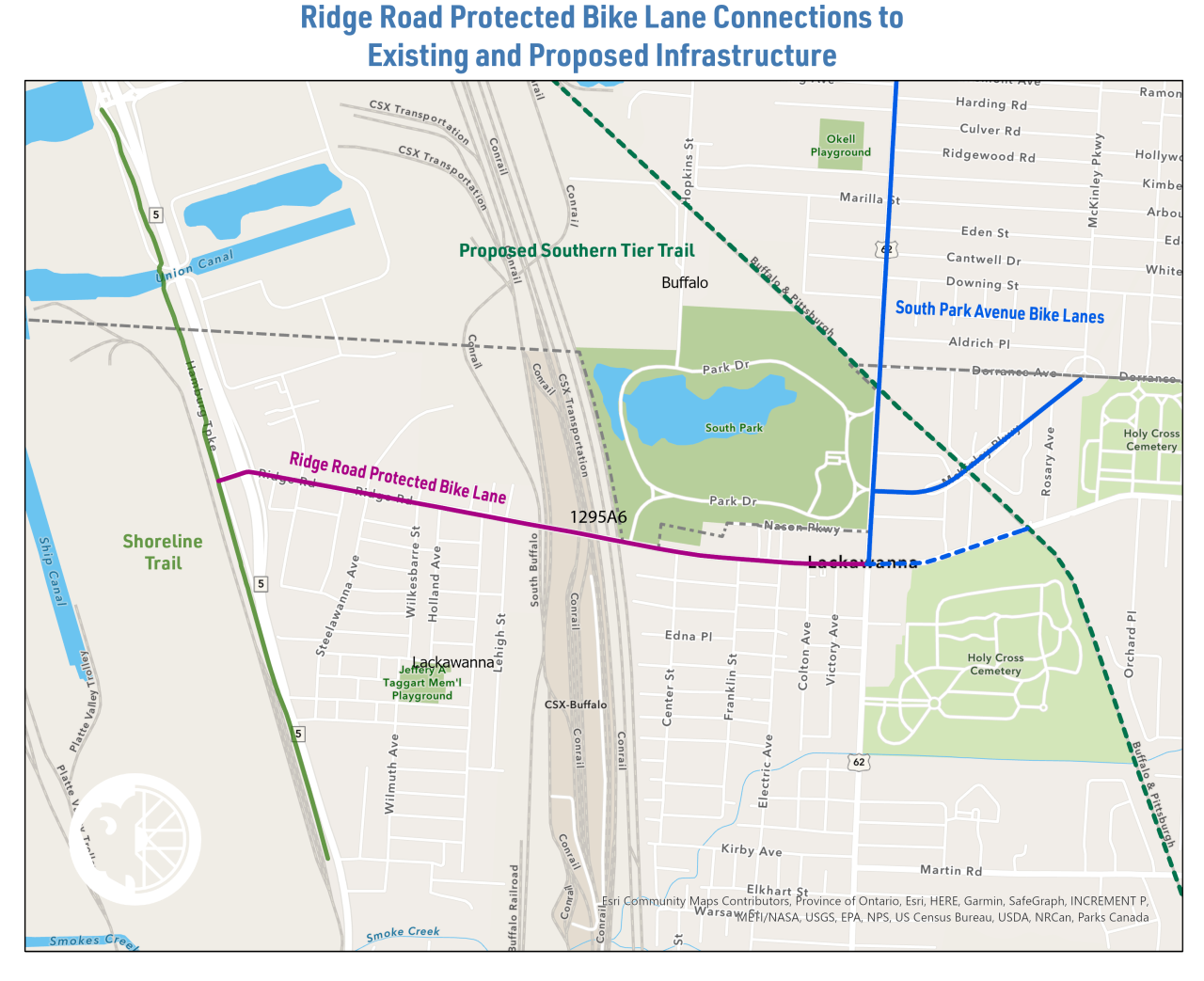 Ridge Road Protected Bike Lane Map
