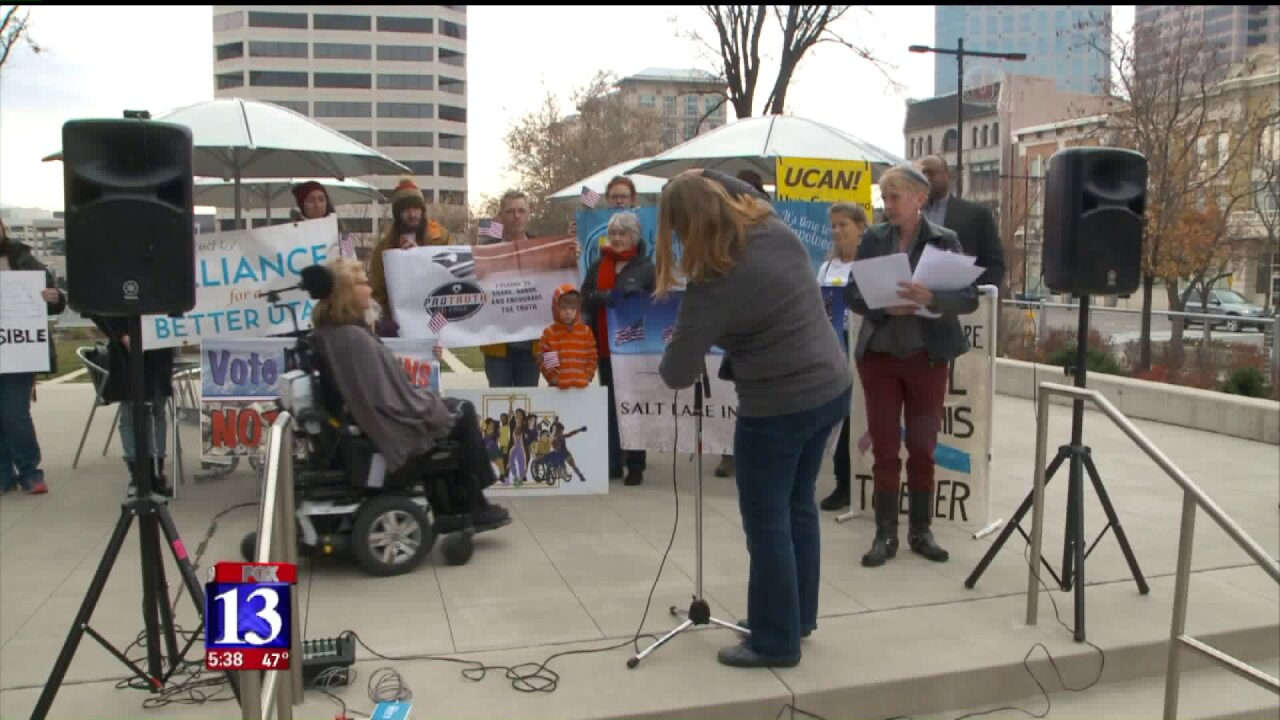 Protesters gather in Salt Lake City opposing taxbill