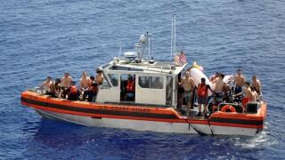 'Shark!'; Video shows Coast Guard react to shark swimming near crewmembers