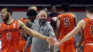 Virginia Tech Hokies basketball coach Mike Young in February 2021