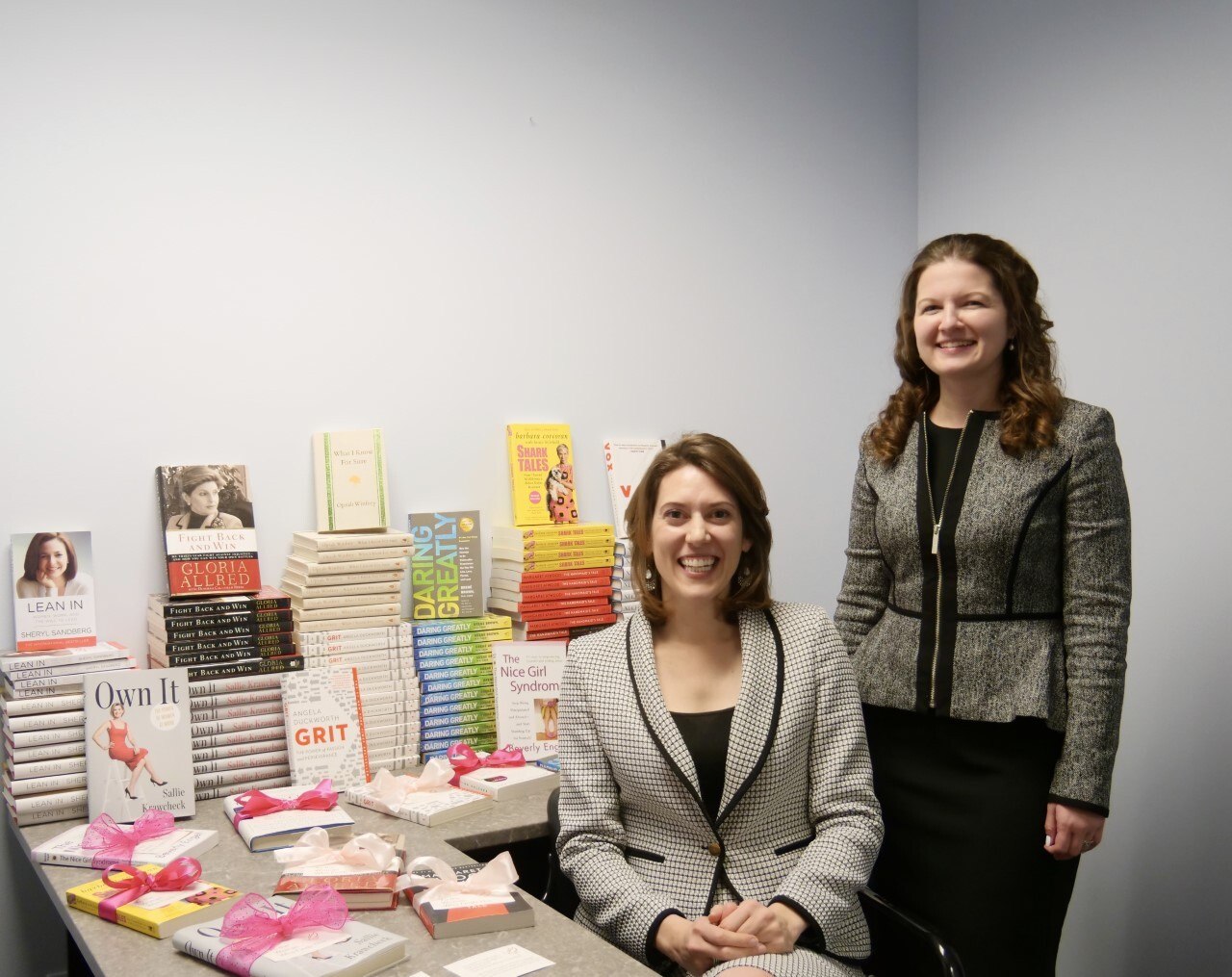 Clare and Megan pink ribbon books.jpg