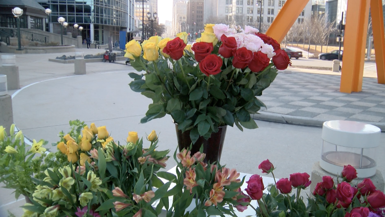 Flowers in memory of Kevin Schneider and Kevin Kloth