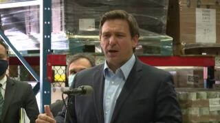 Gov. Ron DeSantis at Palm Beach County Food Bank news conference, April 22, 2021