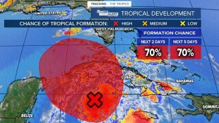 70 percent formation for tropical system