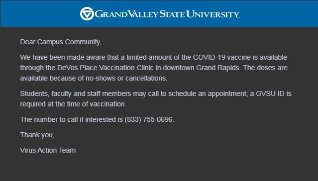 GVSU Email Offering Vaccine Appointments.JPG