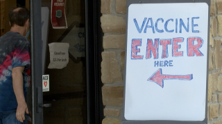 Vaccination site sign in Brown County