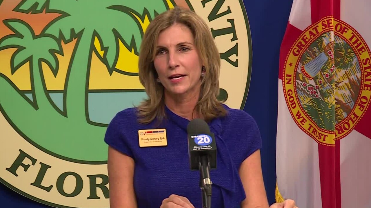 Wendy Sartory Link speaks at Palm Beach County news conference, Oct. 29, 2020