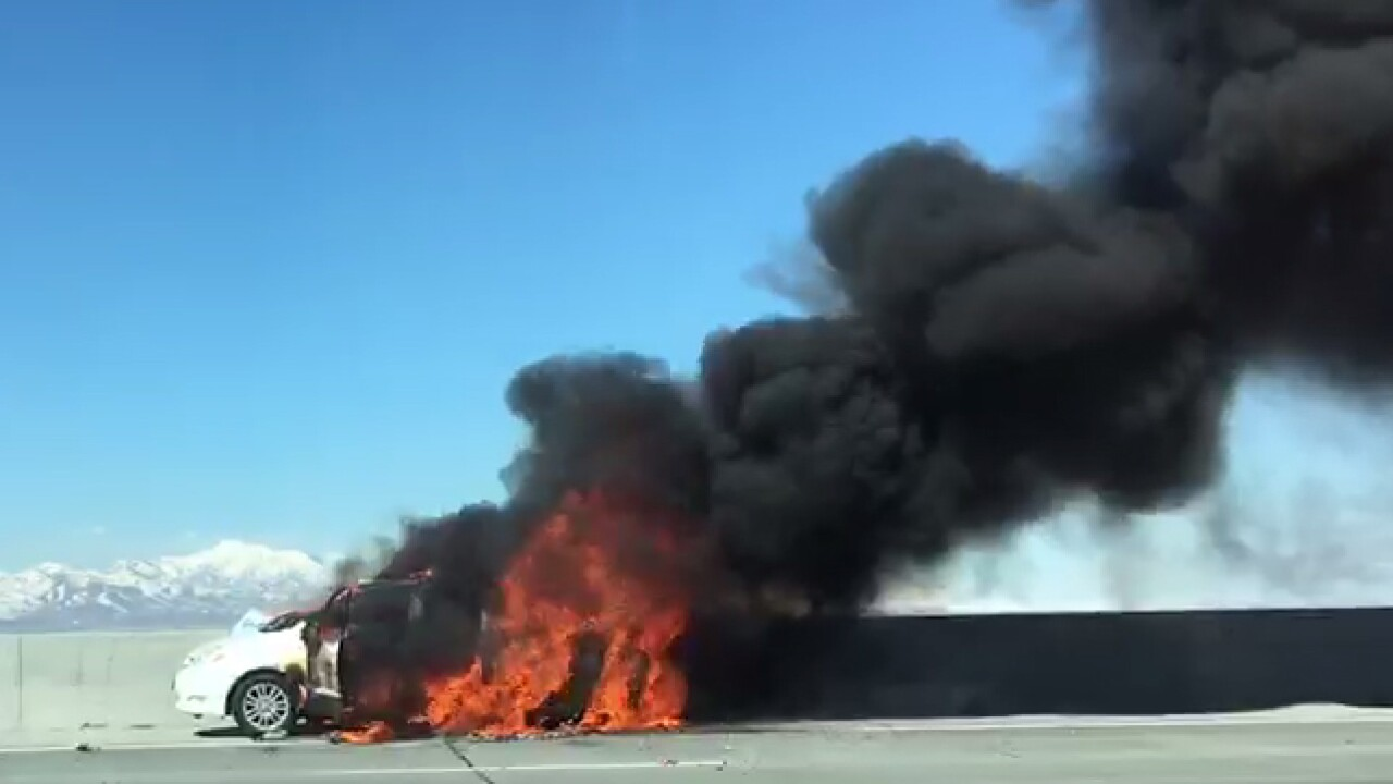 Car catches fire on I-15 near Point of the Mountain