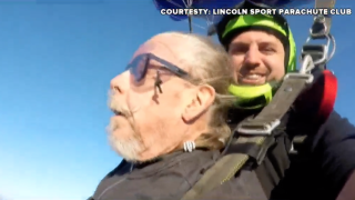 A cancer patient was having a rough week, so his nurse took him skydiving