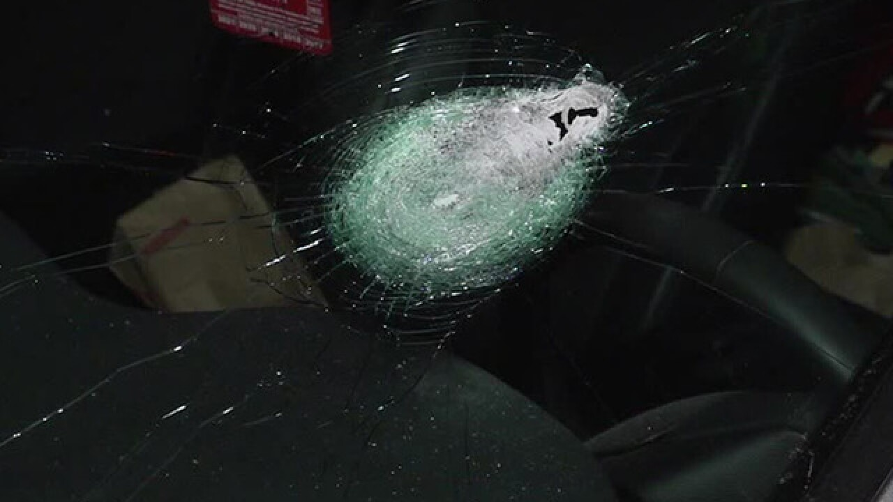 Cars hit by rocks on bridge in California