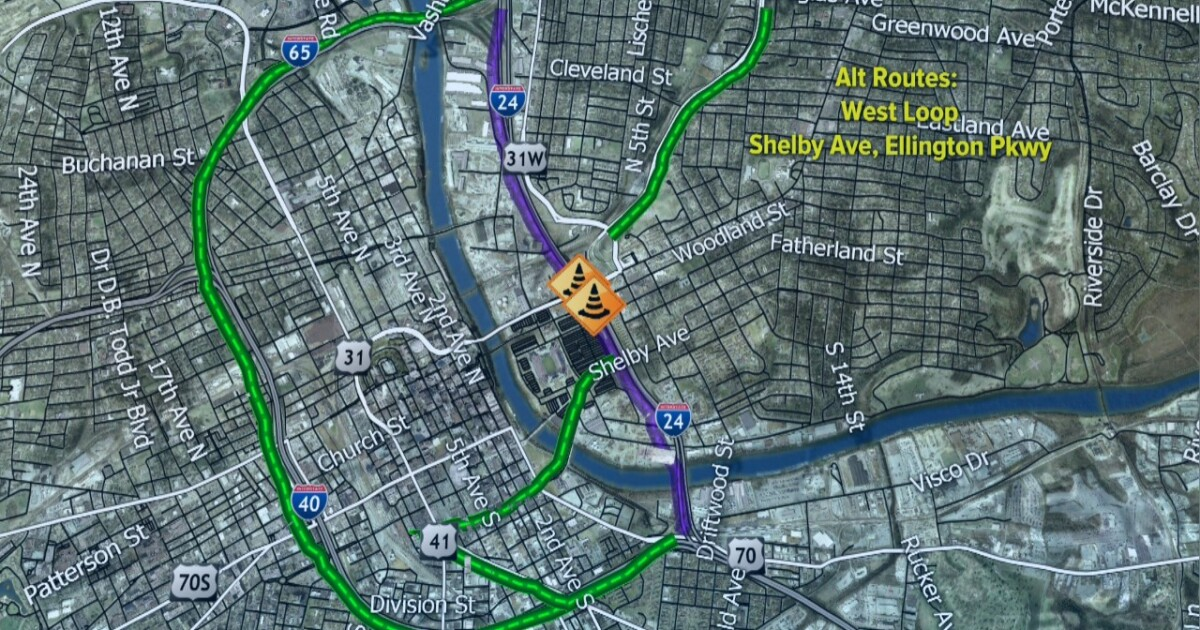 I-24 downtown to close this weekend for bridge repairs