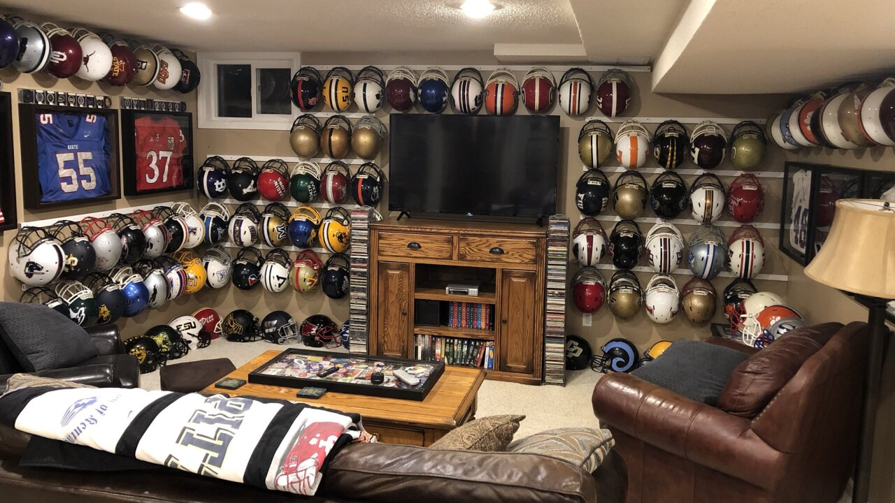 Jerry Quickel's football helmet collection