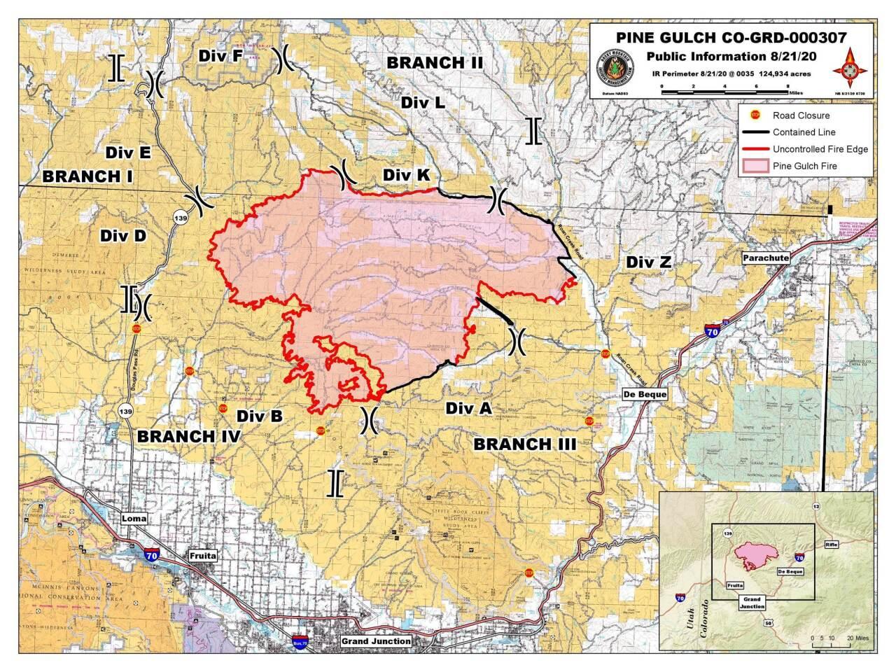 Pine Gulch Fire map_Aug 21 2020