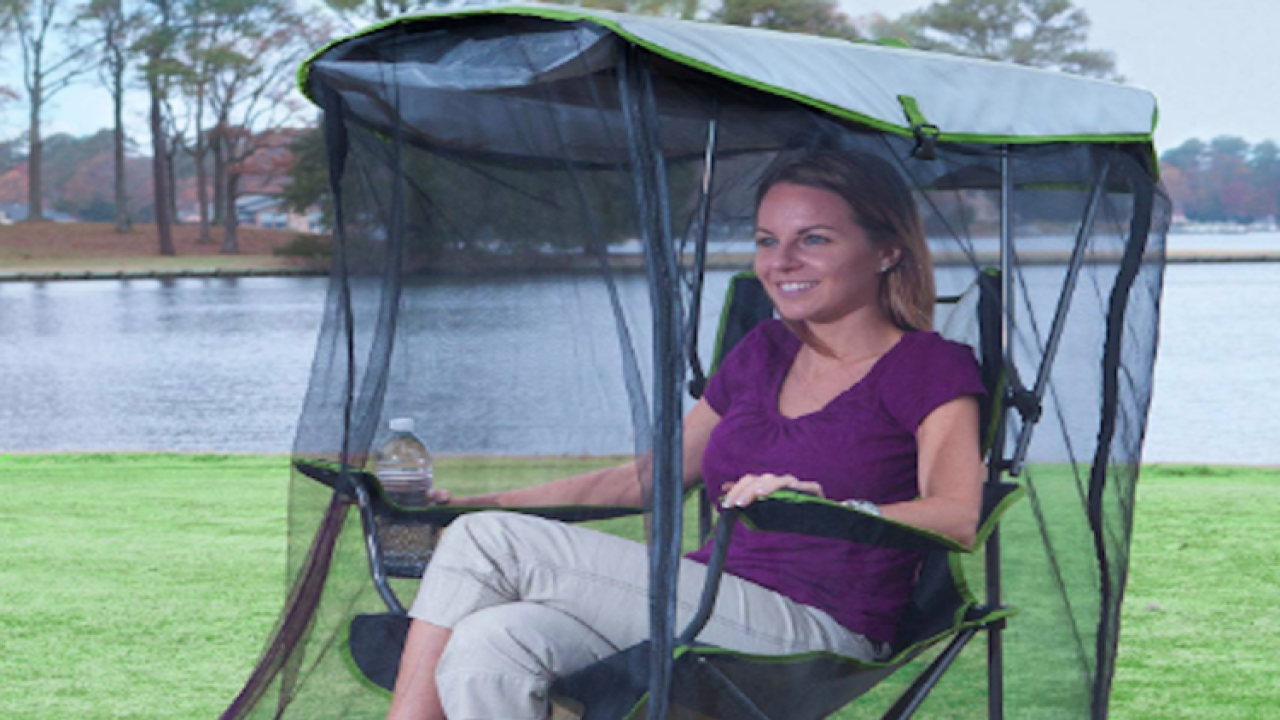 This outdoor chair with netting can protect you from bugs wherever you go