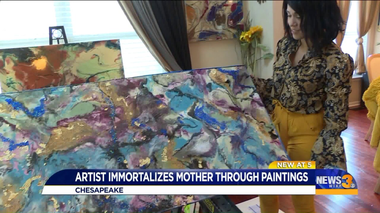 Keeping a mother's memory alive, local artist mixes paint, resin and mother'sremains
