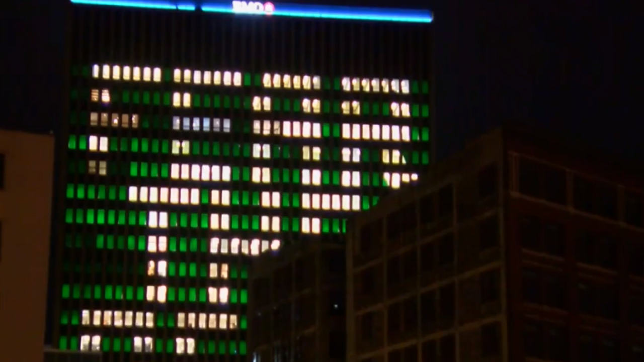 """BMO Harris Bank Building with """"Fear the Deer"""" message"""