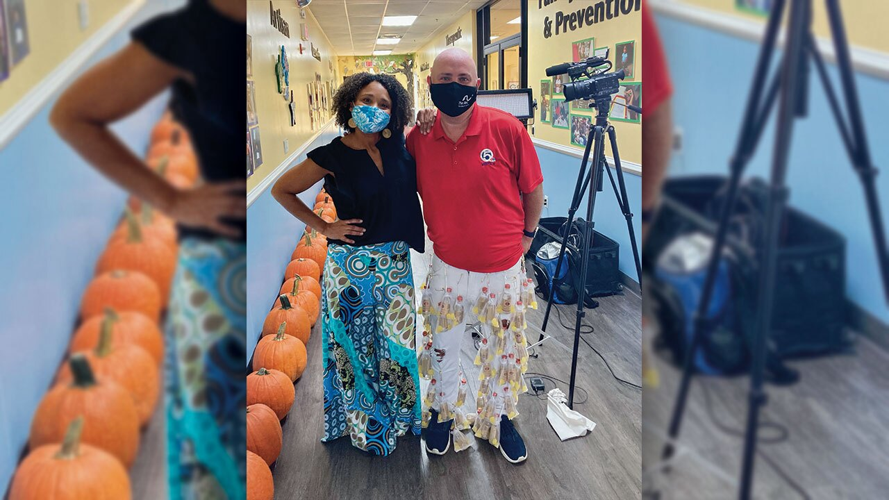 Arc of Palm Beach County spokesperson Shelli Lockhard poses with Entertainment Reporter T.A. Walker in their Wild Pants.  Walker's pants feature 60 bottles of Tito's Handmade Vodka (which were donated by the Austin, TX-based company).  The Wild Pants Party is a fundraising event that has gone virtual this year because of the coronavirus pandemic.