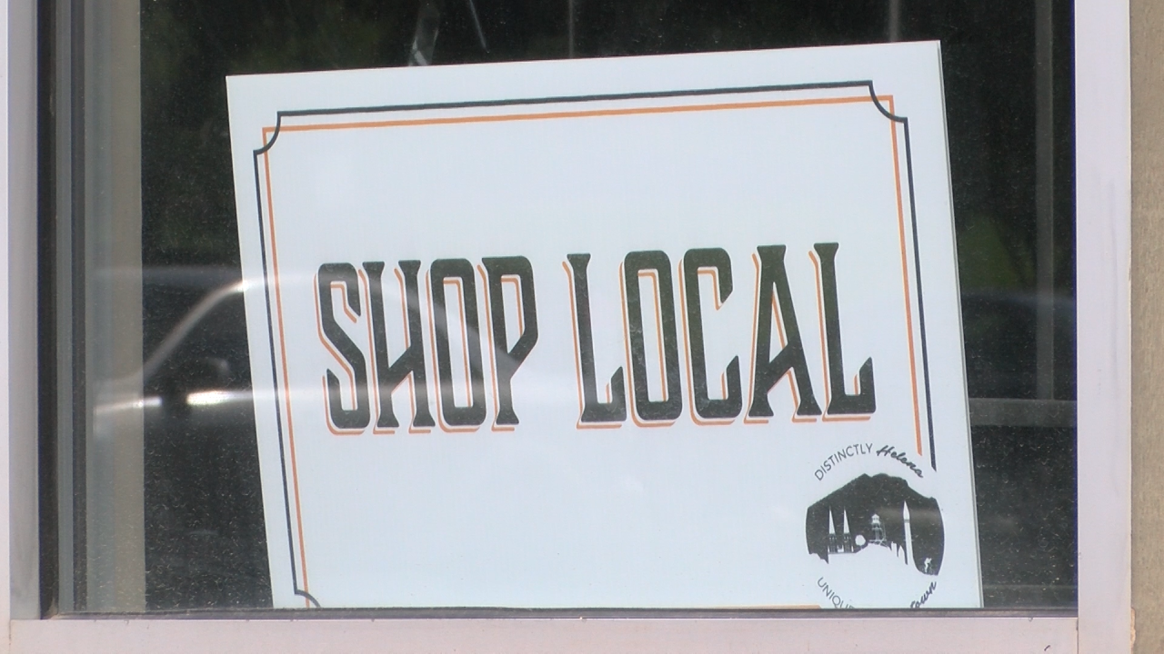 Shop Local sign in downtown Helena